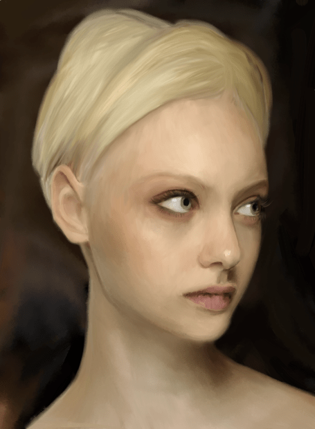 Blond woman painting