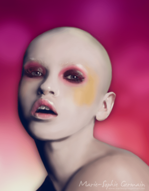 Woman no hair airbrush 2